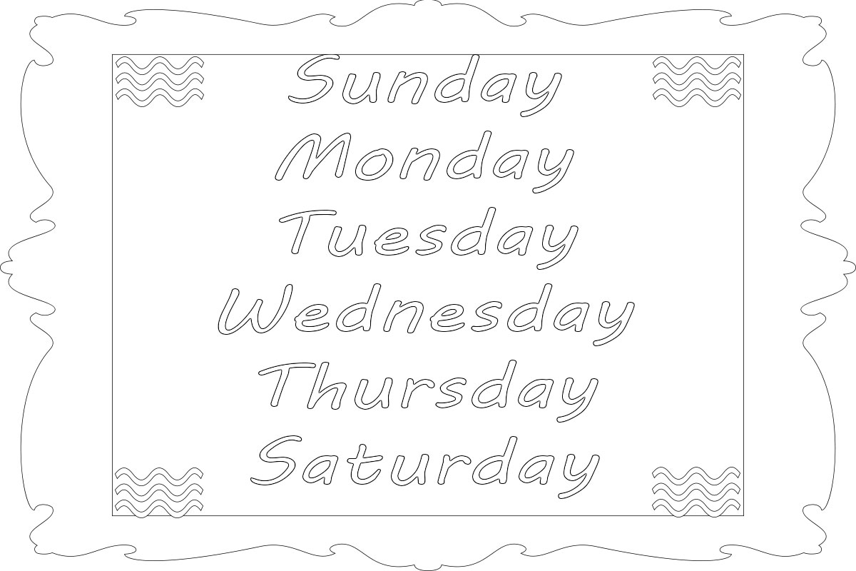 Days Of The Week Coloring Pages Free