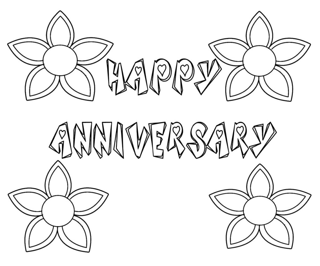 Happy Anniversary Drawing Coloring Pages Sketch Coloring Page