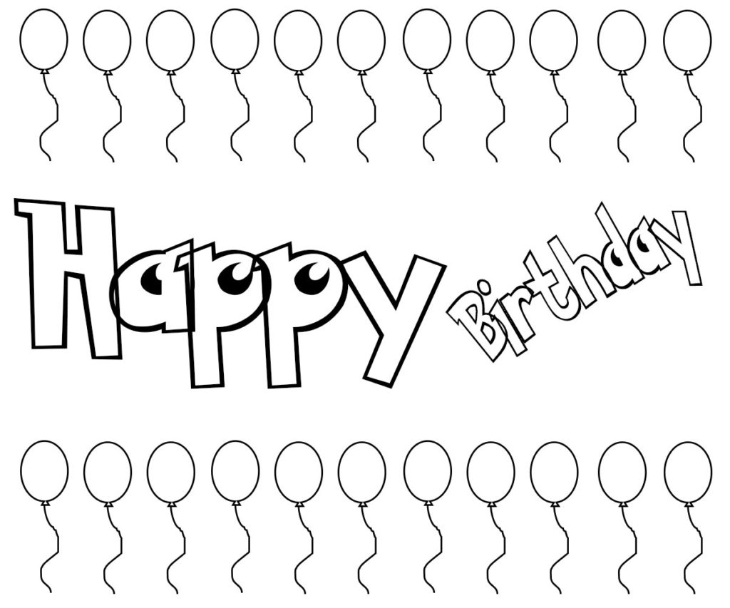 Happy Birthday Coloring Pages For Adults, Toddlers