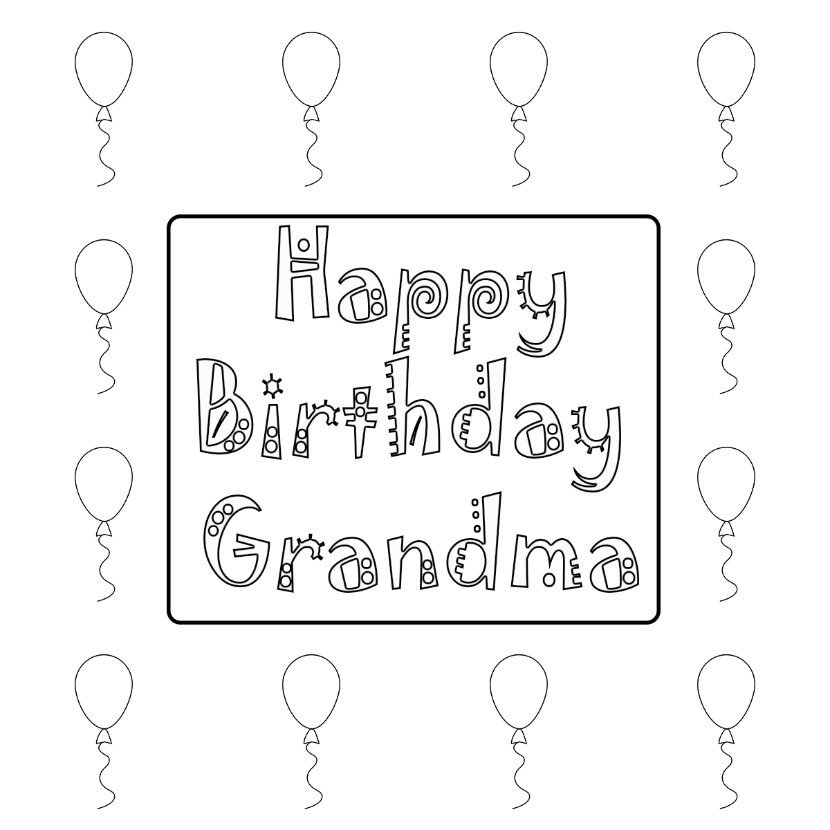 free birthday coloring pages grandmother - photo#41