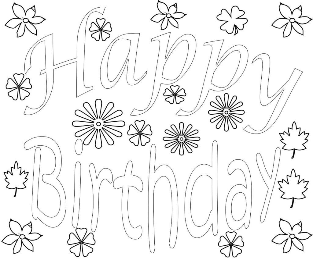 Happy Birthday Coloring Pages For