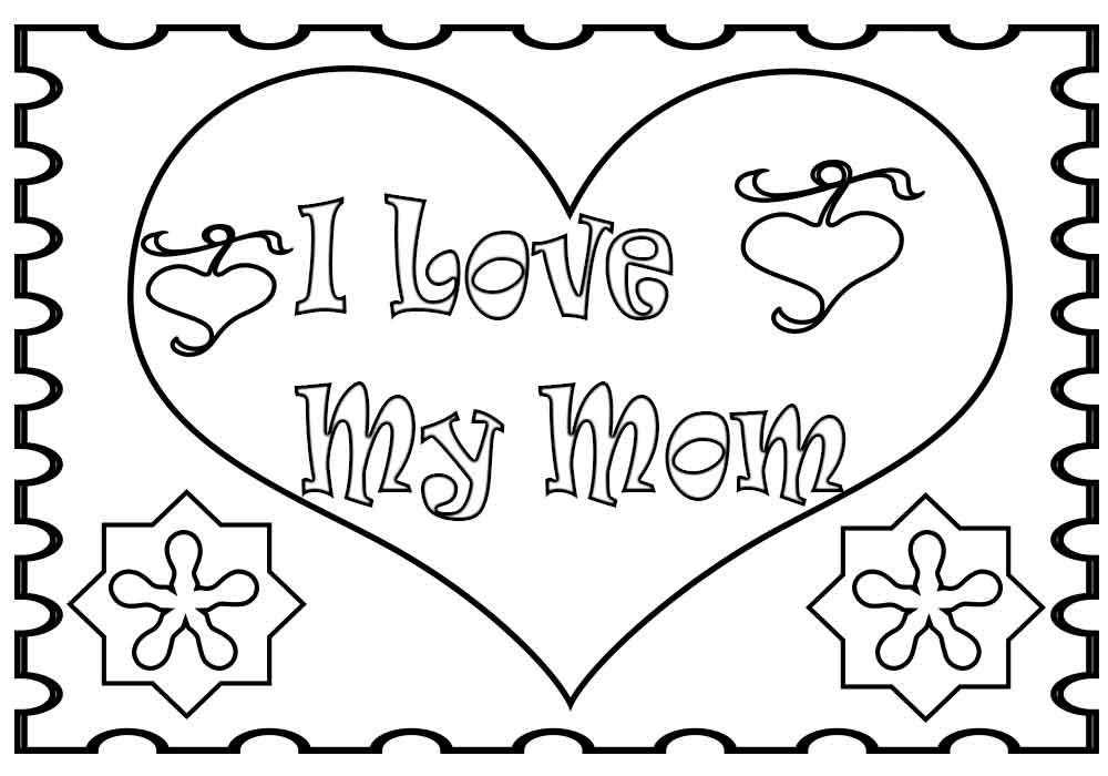 I Love My Mom Colouring Pages