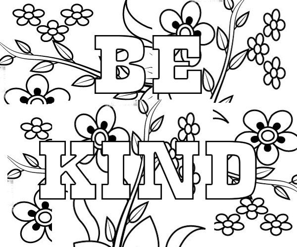 Be Kind printable Coloring Page