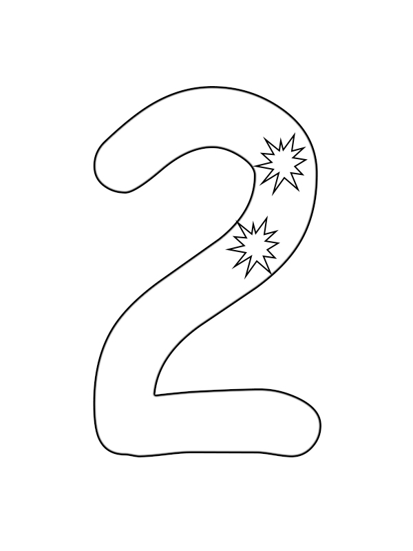 Number 2 Printable Coloring Pages for