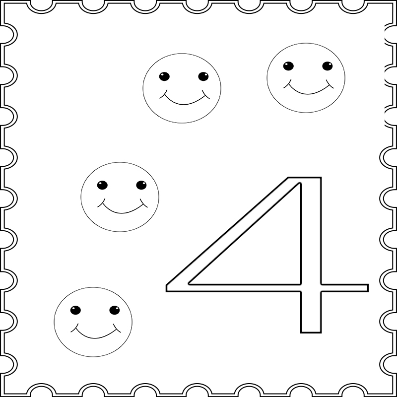 Number 4 Coloring Page For Toddlers Preschool
