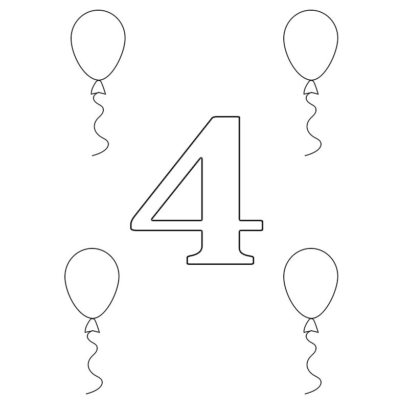 Number 4 Coloring Page For Toddlers