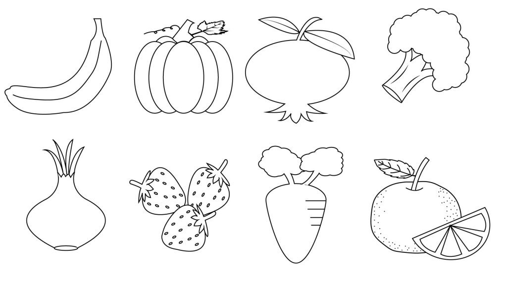 Fruit and Vegetables Coloring Pages for Kids Printable Fruit and ...