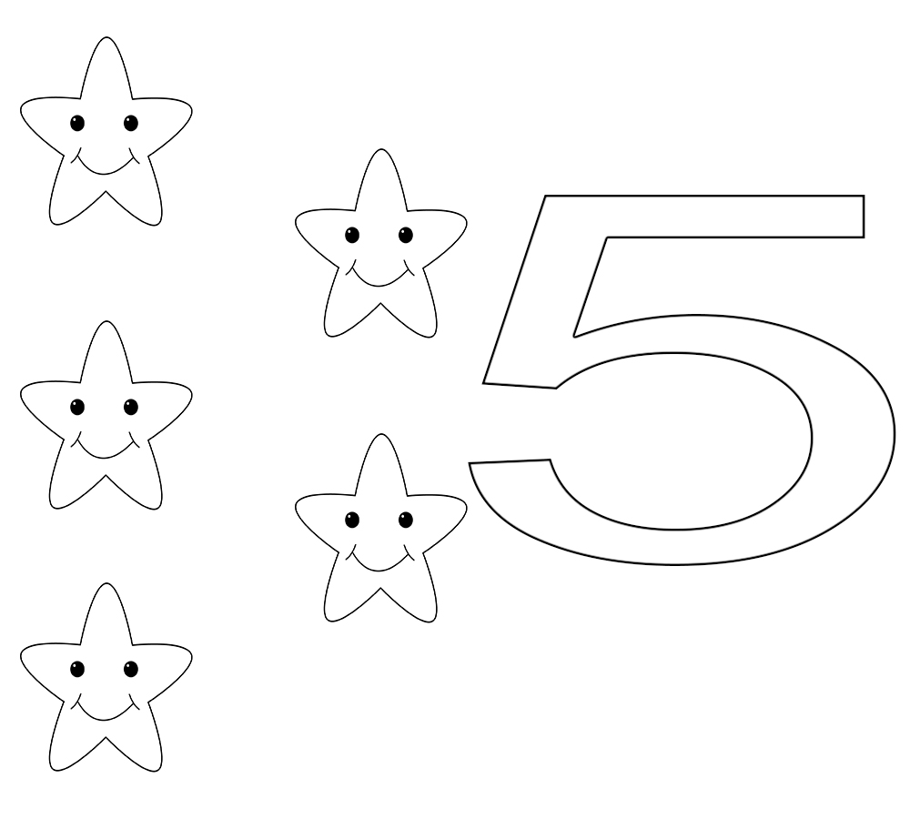 Number 5 Printable Coloring Pages,Toddlers,Preschool