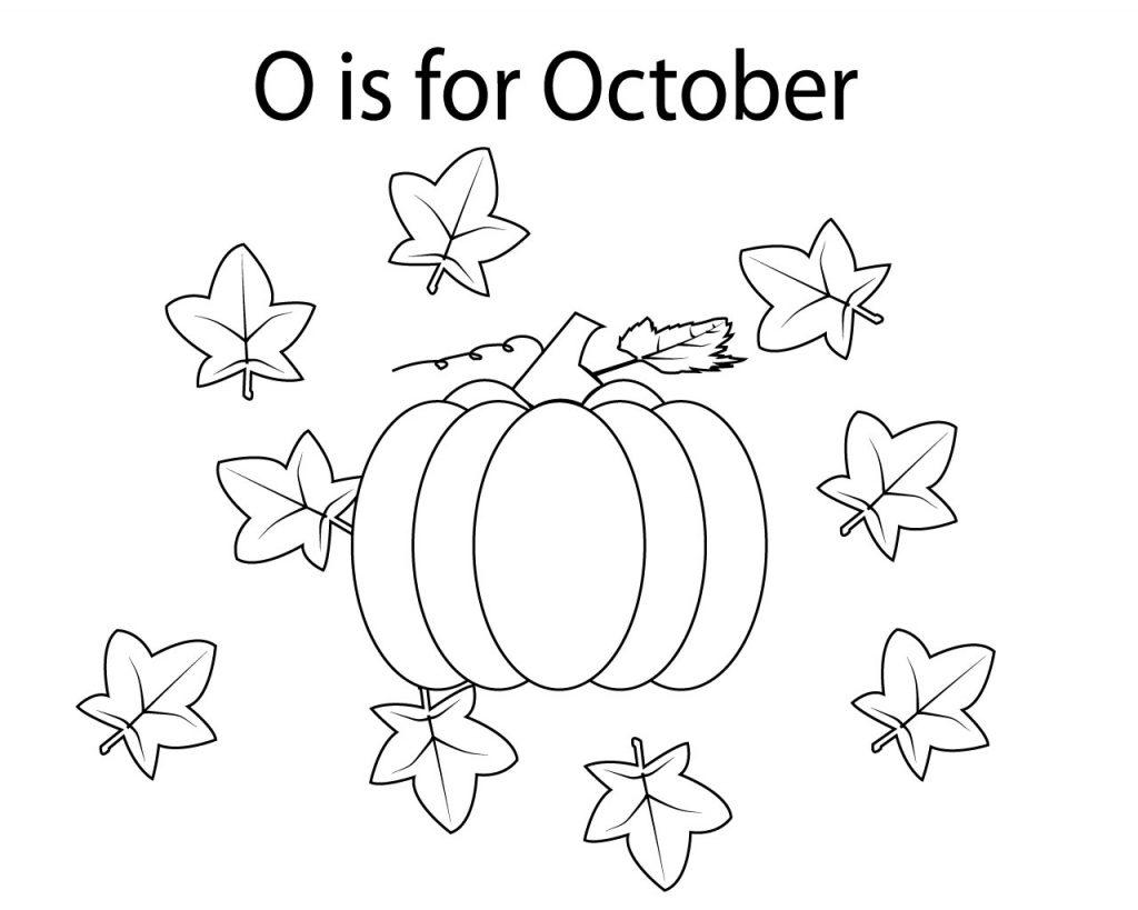 Top 10 October Coloring Pages for preschoolers, kindergarten, adults.