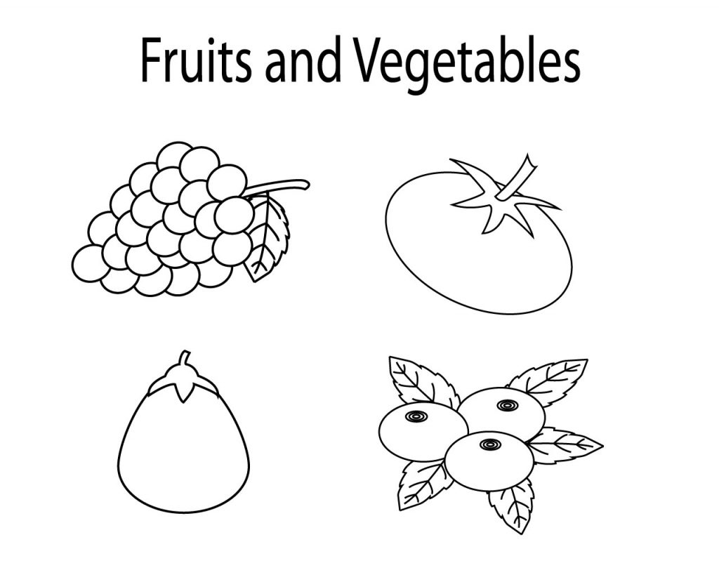 Printable Fruit And Vegetable Coloring Pages