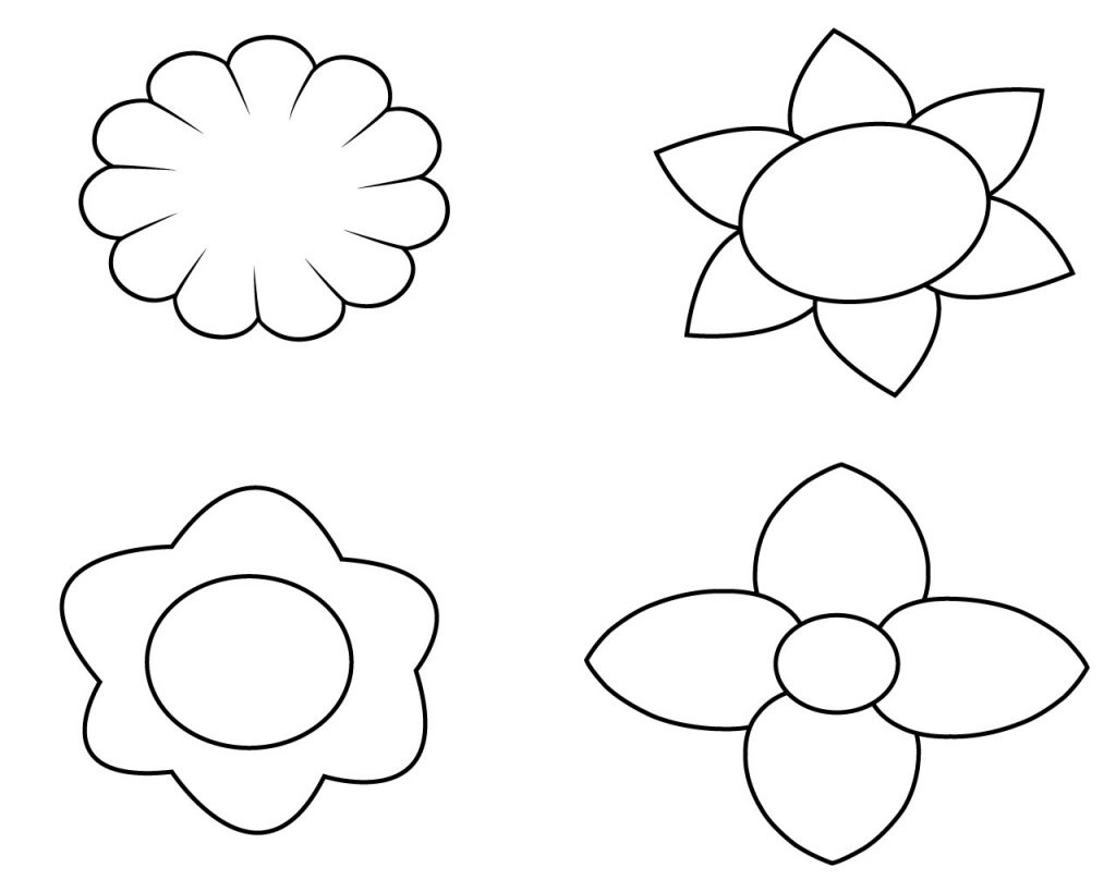 Simple Flower Coloring Pages For Kids, toddlers, preschoolers, free ...