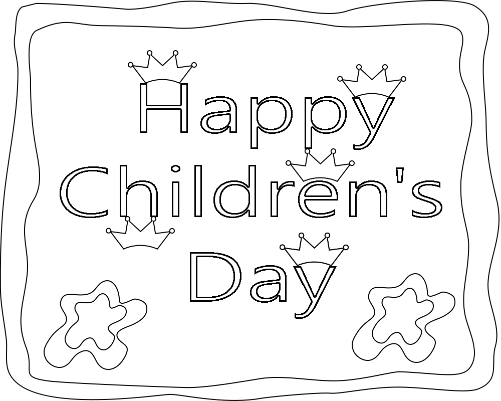 Happy Children's Day Coloring Page