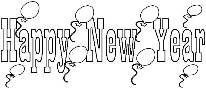 Happy New Year Coloring Page to Print