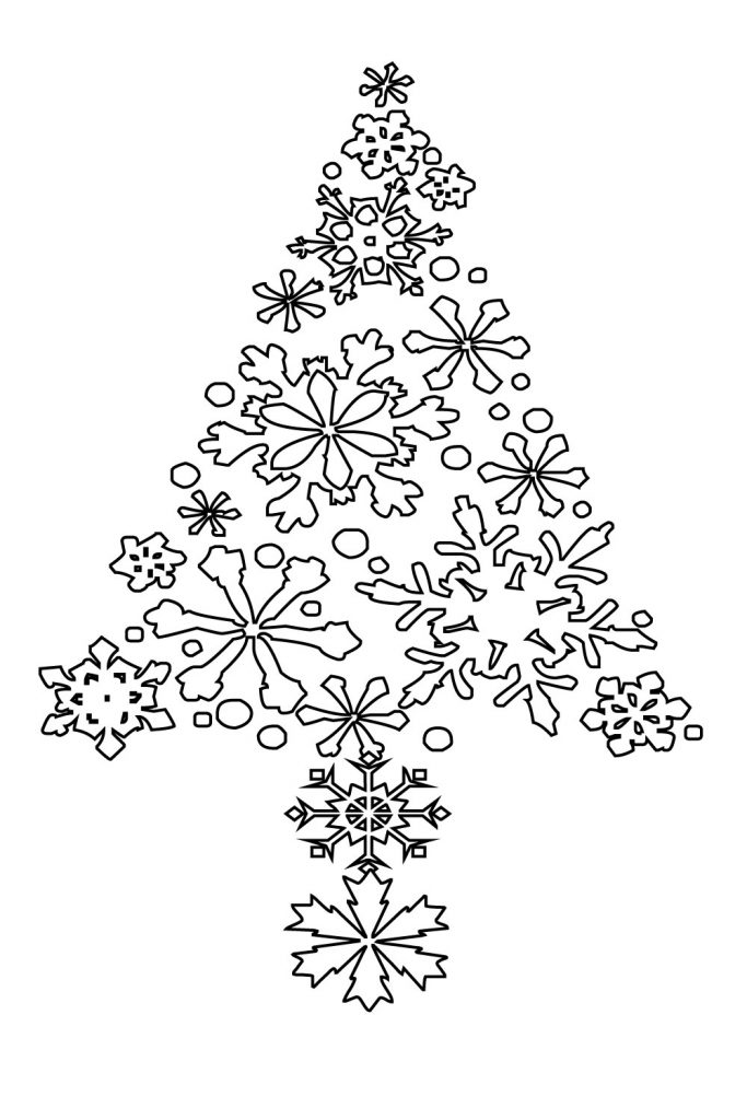 christmas tree coloring page for toddlers