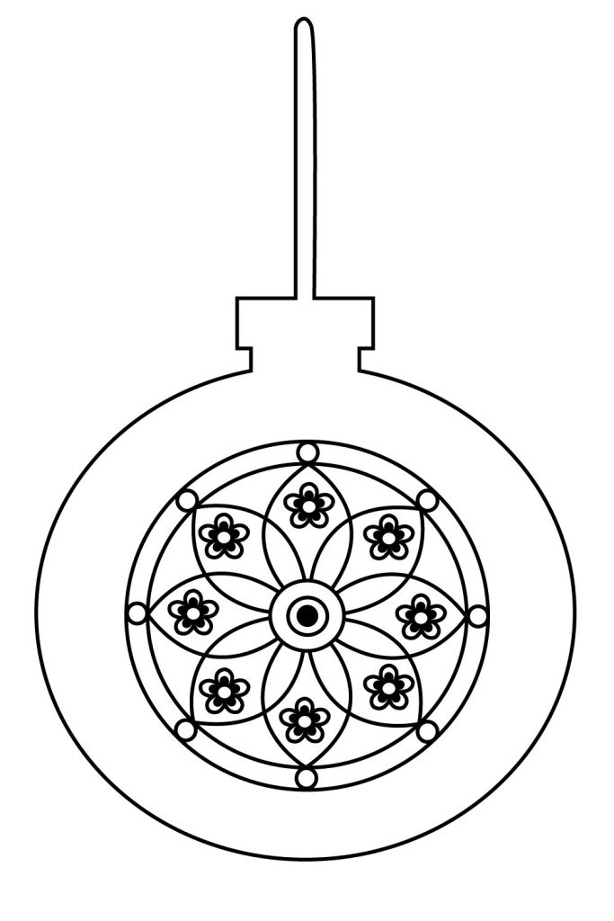 simple christmas ornament coloring pages - photo#12