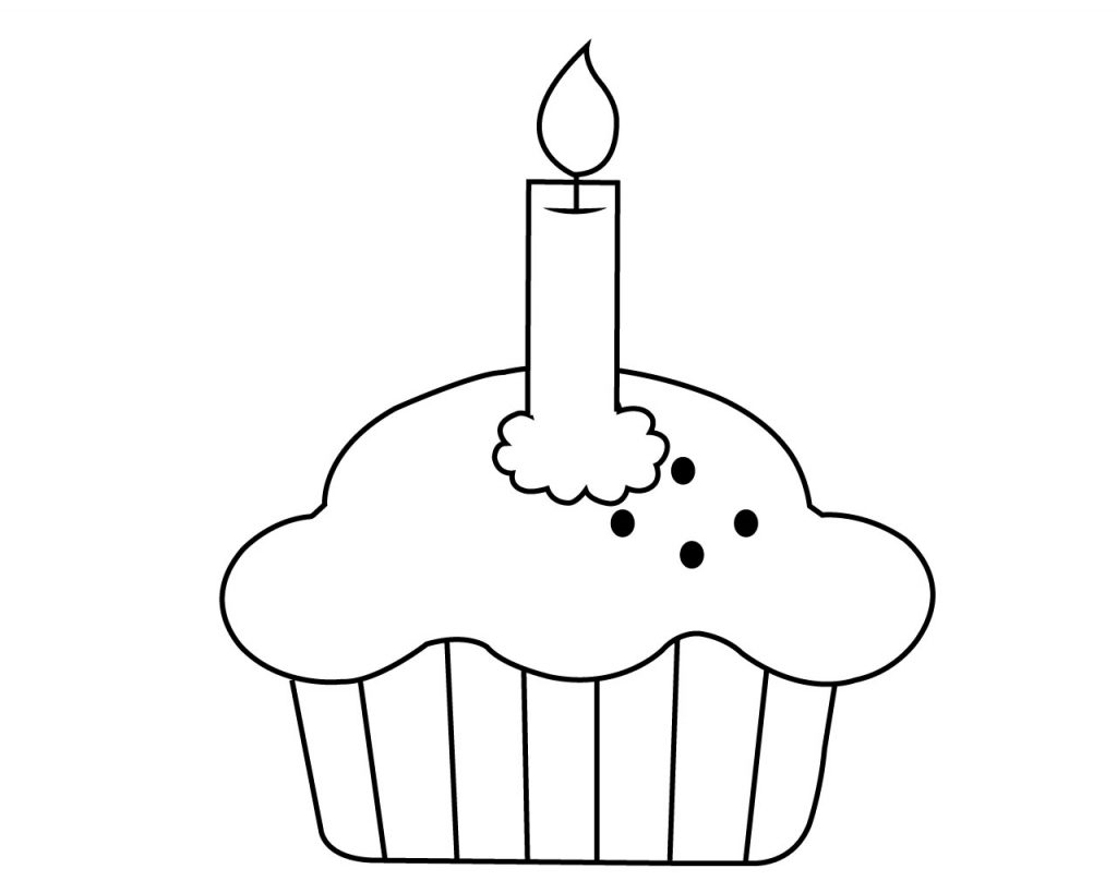Cupcake with Candle Coloring Page