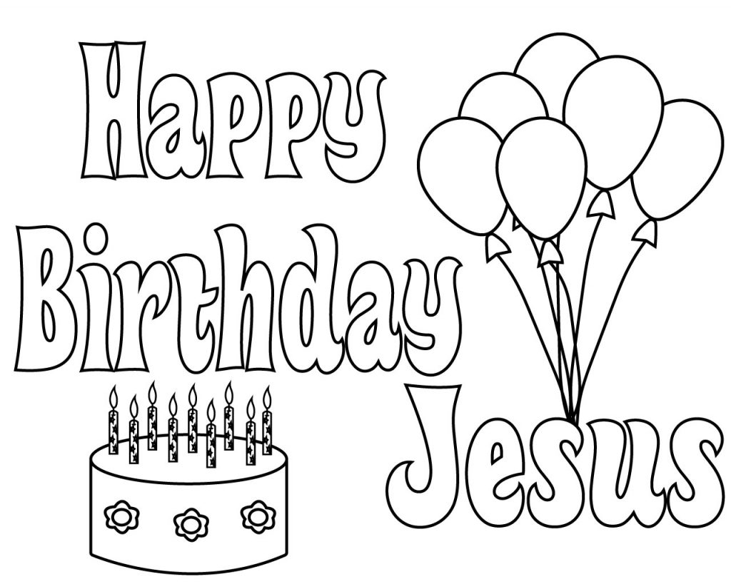 Christmas Happy Birthday Jesus Coloring Pages Free Printable