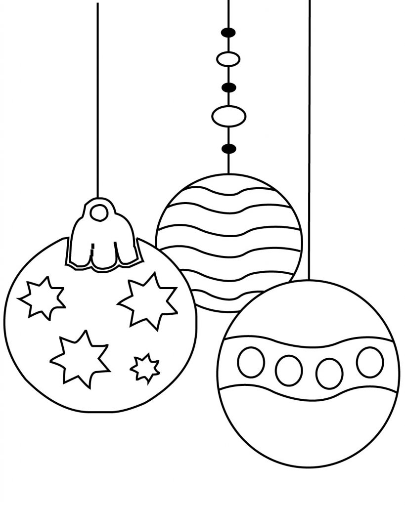 Christmas Ornament Coloring Pages Printable, Simple, for ...