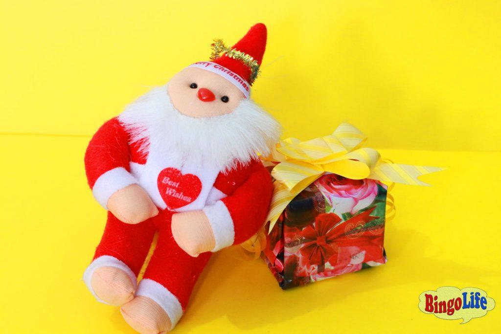 big santa with gift