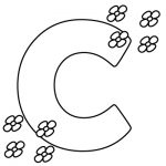 letter C Coloring Pages with flowers